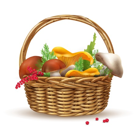 Basket with mushrooms composition with realistic image of wicker basket filled with ripe mushrooms and green grocery vector illustration