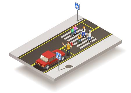 De elementen isometrische samenstelling van weg met autosnelwegsectie en ongecontroleerde voetgangersoversteekplaats met mensen en verkeersteken vectorillustratie