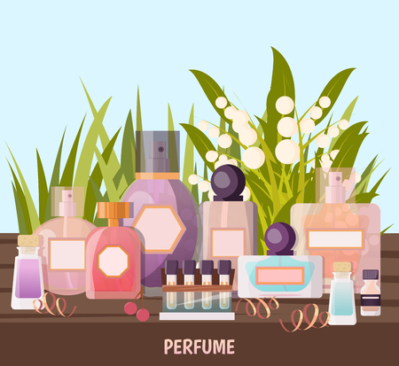 Colored cartoon perfume shop background with exhibition of perfume samples for advertising vector illustration
