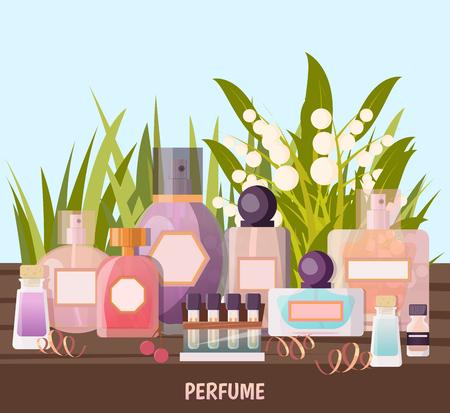 Gekleurde de winkelachtergrond van het beeldverhaalparfum met tentoonstelling van parfummonsters voor de reclame van vectorillustratie