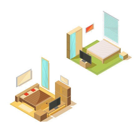 Furniture isometric set of two bedroom interiors with double bed tv set mirror and bedside table vector illustration