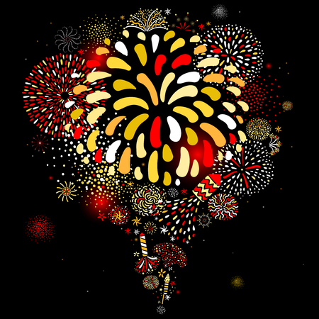 Festive multicolored radial firework explosion sparkling pattern on black background holiday celebration party abstract vector illustration