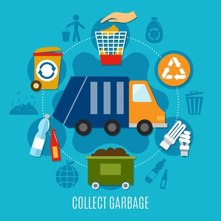 Garbage composition with flat doodle style icons of refuse collection truck trash bins and recycling pictograms vector illustration Illustration