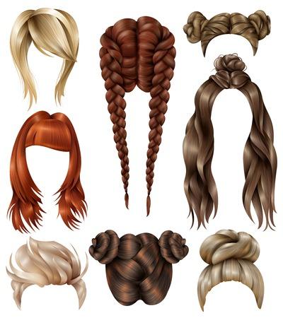 이발, 청소년 헤어 스타일, 긴 흐르는 머리, 프랑스 머리 띠가 격리 된 벡터 일러스트와 함께 현실적인 여성 헤어 스타일 세트