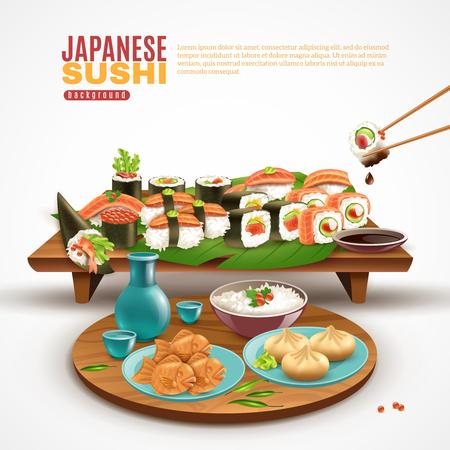 寿司巻きとプレートがいっぱいの木製スタンドでリアルな背景と他の和食ベクトルイラスト