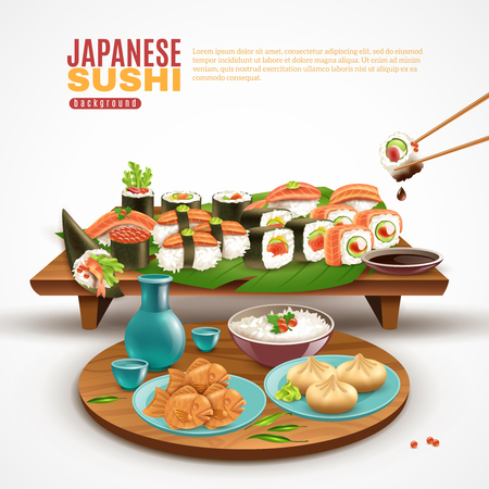 Realistic background with wooden stand full of sushi maki and plate with other japanese dishes vector illustration Ilustração