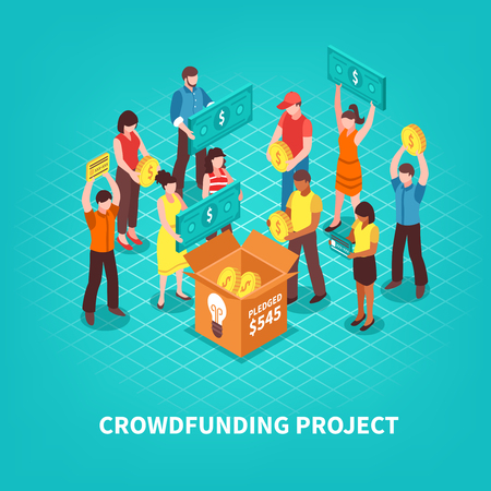 Crowdfunding project and people making donations concept on blue background 3d isometric vector illustration