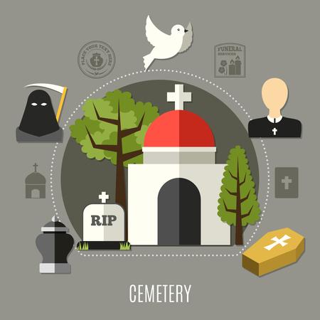 Begraafplaatsconcept met dood en kerksymbolen vlakke vectorillustratie die wordt geplaatst Stock Illustratie