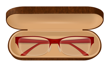 Classic eyeglasses with red frame in brown case on white background realistic vector illustration