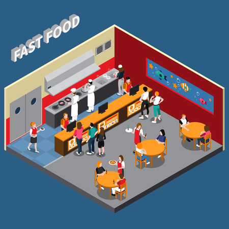 Fast food restaurant with employees of kitchen cashiers waitresses and visitors interior elements isometric vector illustration Ilustração