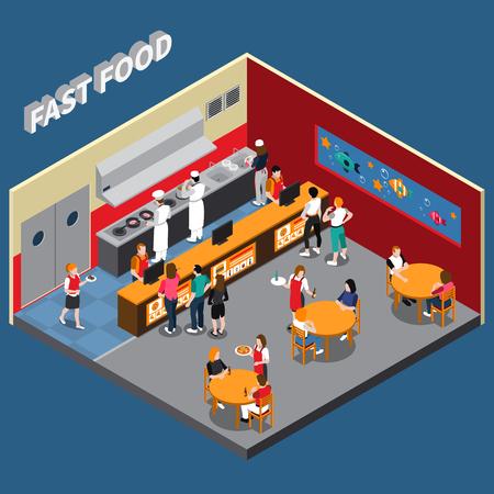 Restauration rapide avec des employés de cuisine serveurs serveuses et des éléments intérieurs visiteurs illustration vectorielle isométrique