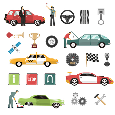 Auto service symbols taxi racing cars competitions attributes and road signs flat icons collection isolated vector illustration
