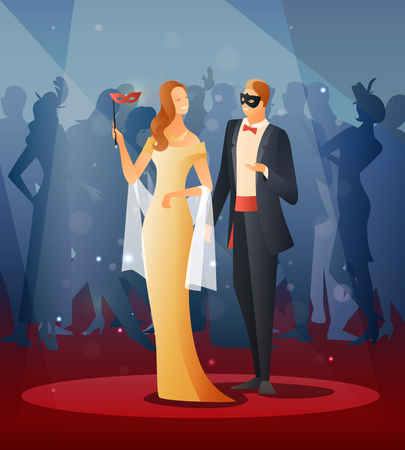Masquerade party with people wearing masks flat gradient vector illustration