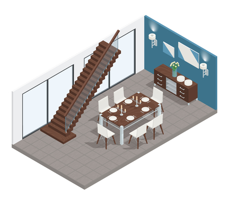 Dining room isometric concept with stairs  table and chairs vector illustration Illustration