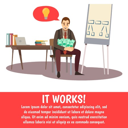 Business trainings background with man sitting in office, holding money and thinking about his success vector illustration