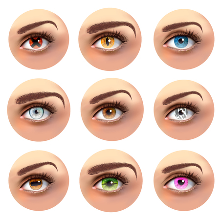 Colorful eyes with different pupils including cross, heart, line set of round icons isolated vector illustration