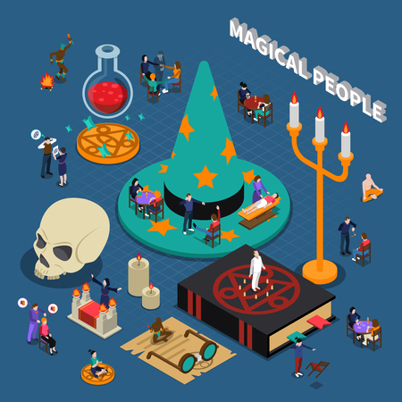 Magical people isometric design with shaman and fortune teller hypnosis and meditation on blue background vector illustration