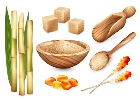 Rohrzuckersatz mit lokalisierten Bildern des Sandzuckers in der hölzernen Plattenlöffelkaution und in den Süßigkeitsbonbons vector Illustration Vektorgrafik