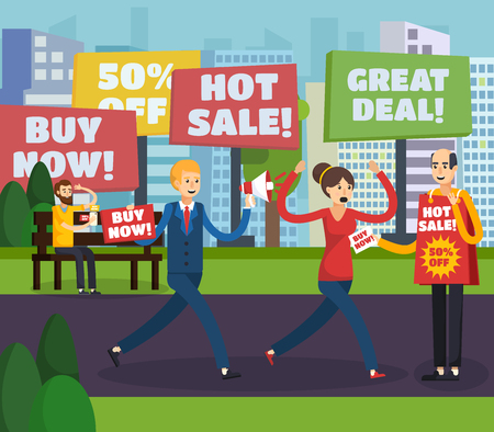 Colored flat annoying intrusive advertisement orthogonal composition advertiser pursues a potential buyer vector illustration