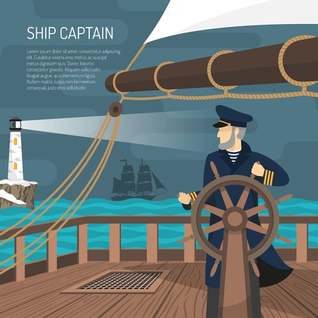 Sailing ship captain at wheel steering at night with beacon light on background flat retro poster vector illustration Illustration