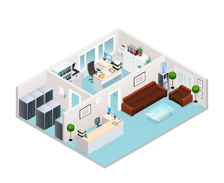 Office interior isometric design including waiting area with soft furniture reception server room working cabinet vector illustration