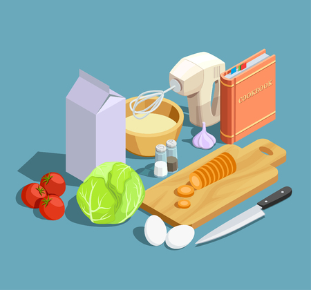 Cooking icons isometric composition with cumbersome products ripe vegetables whipper knife with cutting board and cookbook vector illustration