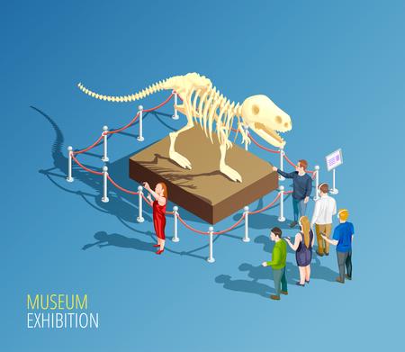 fondo de infografía elemento con composición isométrica de esqueleto de dinosaurio y grupo de visitantes de una ilustración de vector de museo