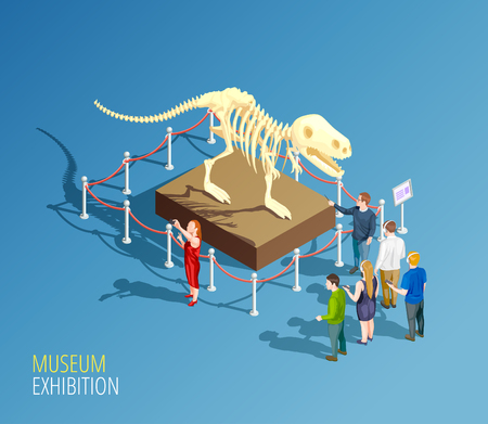 Museum infographic background with isometric composition of dinosaur skeleton and group of visitors to a museum vector illustration