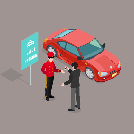 Valet parking sign composition with isometric car image and male guest giving keys to valet character vector illustration