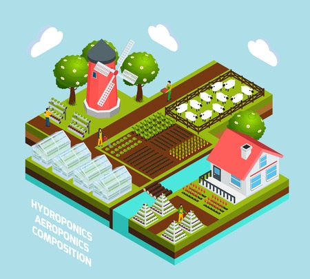 Hydroponics and aeroponics isometric concept with greenhouse and farming symbols  vector illustration 向量圖像