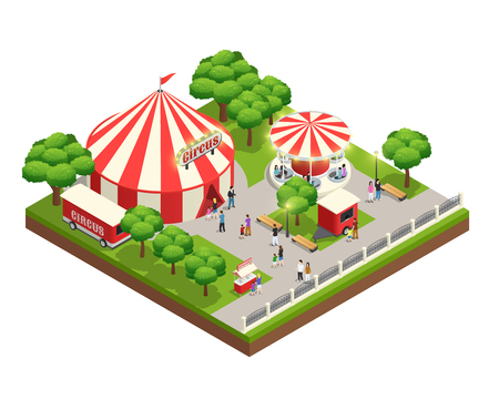 Amusement park isometric composition with carousel circus tent ticket cashier kiosk and people with kids vector illustration