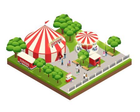 Isometrische Zusammensetzung des Vergnügungsparks mit Karussellzirkuszeltkarten-Kassiererkiosk und Leute mit Kindern vector Illustration