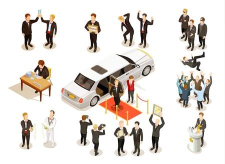 Music festival winner award ceremony with limousine red carpet money check presentation isometric icons composition vector illustration.