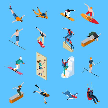 극단적 인 스포츠 사람들 아이소 메트릭 다이빙 스케이트 보드 파란색 배경에 서핑 패러 글라이딩 격리 된 벡터 일러스트와 함께 설정
