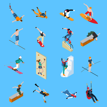 Extreme sports people isometric set with diving skateboarding paragliding skiing surfing on blue background isolated vector illustration Vettoriali
