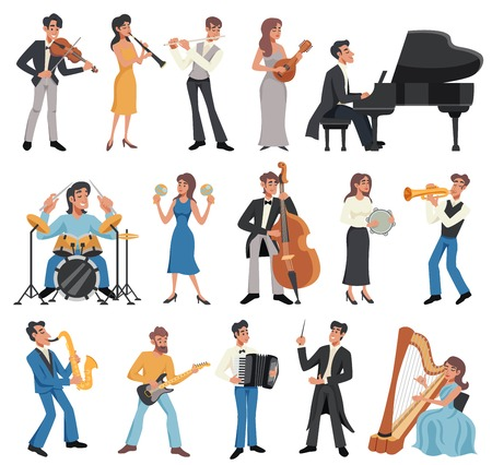 Colored and isolated musician icon set with men and women play instruments and sing vector illustration