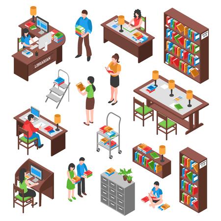 Bibliotheek isometrische set met werknemer bezoekers werkplekken boekenkasten en archiefkast bureaus voor het lezen van geïsoleerde vectorillustratie