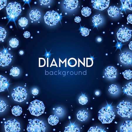 Light blue color gem diamond background with placer of diamonds in a circle vector illustration Vettoriali