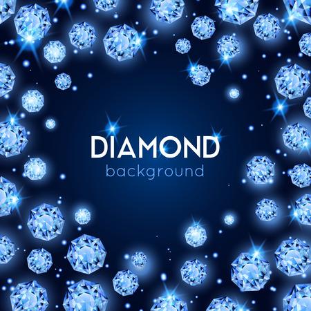 Lichtblauwe de diamantachtergrond van de kleurengem met placer van diamanten in een cirkel vectorillustratie