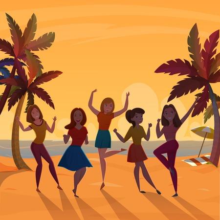 Jeunes filles qui dansent sur la plage au coucher du soleil fond élégant de style rétro avec ombre palmiers palmiers illustration vectorielle Banque d'images - 92035718