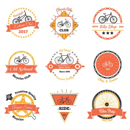 Bicycle vintage emblems color collection of nine isolated decorative oldschool labels with crawler wheel and chain vector illustration Illustration