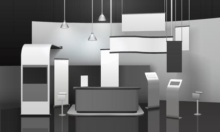 광고 전시 스탠드 3d mockup 카운터, 디스플레이, 가로 및 세로 빈 배너, 교수형 램프 벡터 일러스트 레이 션 스톡 콘텐츠 - 92035720