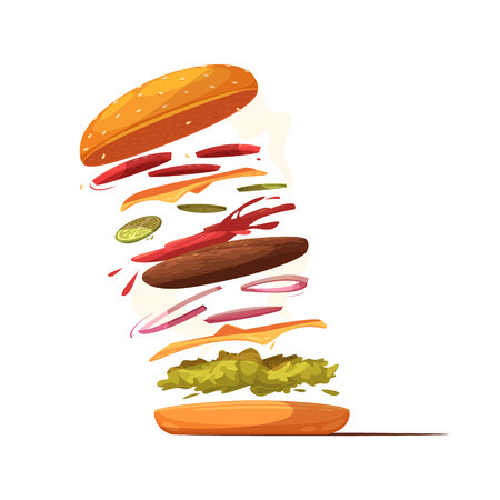 Hamburger ingredients design with beef cutlet cheese sliced vegetables salad bun with sesame and ketchup vector illustration
