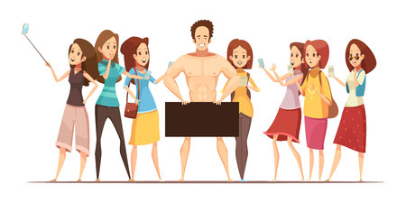 Teenage girls making photos with electronic gadgets of male model at art studio retro cartoon vector illustration