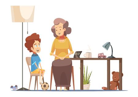 ダイニングルームテーブルで小さな孫に話しかけるおばあちゃん先輩女性キャラクターレトロ漫画ポスターベクトルイラスト