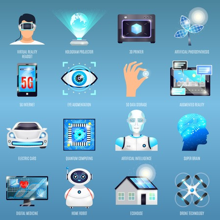 Future technologies icons with eco house, quantum computing, robots, 5g internet on blue background isolated vector illustration