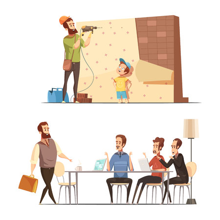 Fatherhood retro cartoon work family balance concept with house renovation and late in office isolated vector illustration
