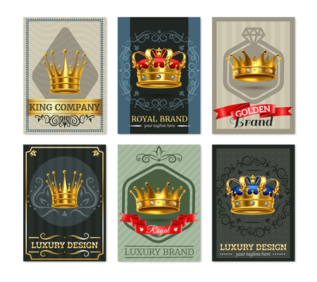 Imperial royal gold realistic crowns on noble background luxury emblems design banners collection isolated vector illustration