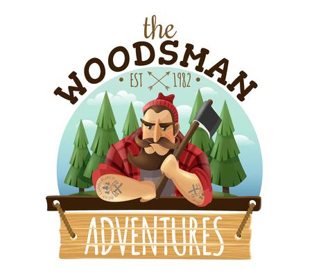 強い筋肉入れ手の斧を持つ典型的な木材ジャックの森の男は冒険ボードアイコンラベルベクトルイラストをサイン 写真素材 - 91991587