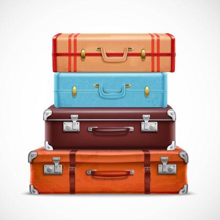 Valises de voyage rétro en cuir classique pile marron bleu avec sangles avant vue réaliste 3d set vector illustration Vecteurs
